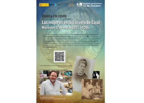 Charla-Coloquio «Las mujeres en la Escuela de Cajal». Miércoles 17 de marzo 2021, 14:00h. Evento OnLine en directo.