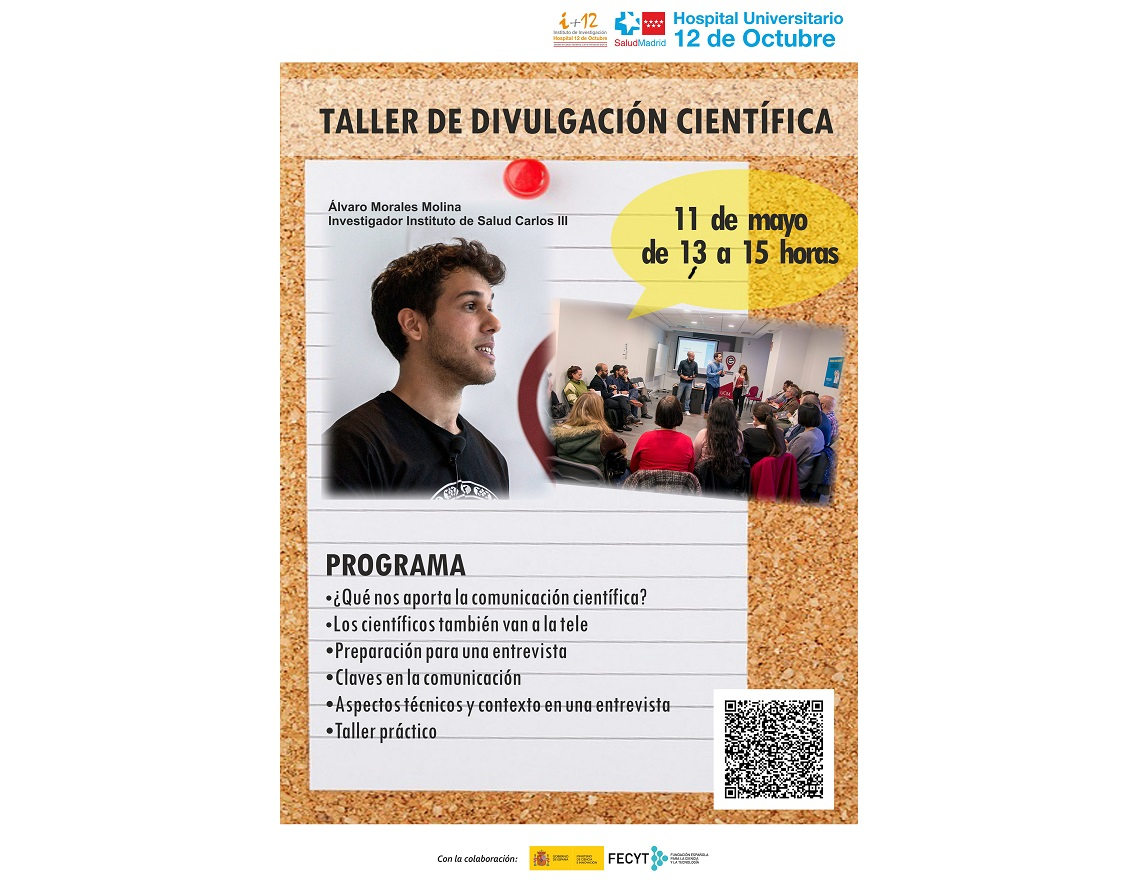 Taller de Divulgación Científica – D. Álvaro Morales Molina. Martes 11 de mayo de 2021 de 13:00 a 15:00 horas. Presencial + Visualización Online en directo.