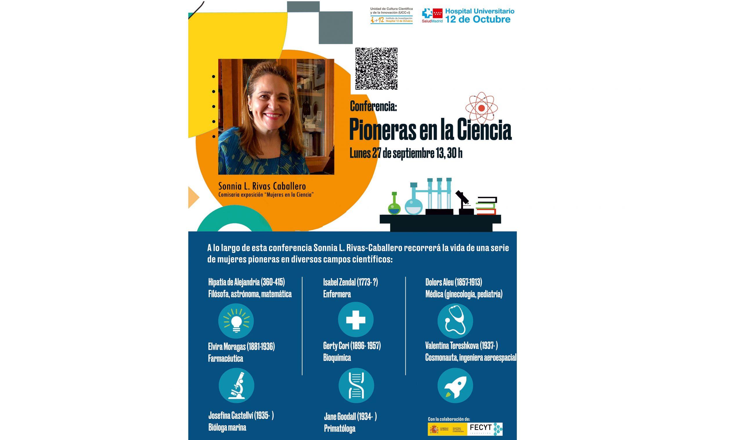 """Conferencia """"Pioneras en la Ciencia"""". Lunes 27 de septiembre de 2021 a las 13:30 h. Evento OnLine en directo."""