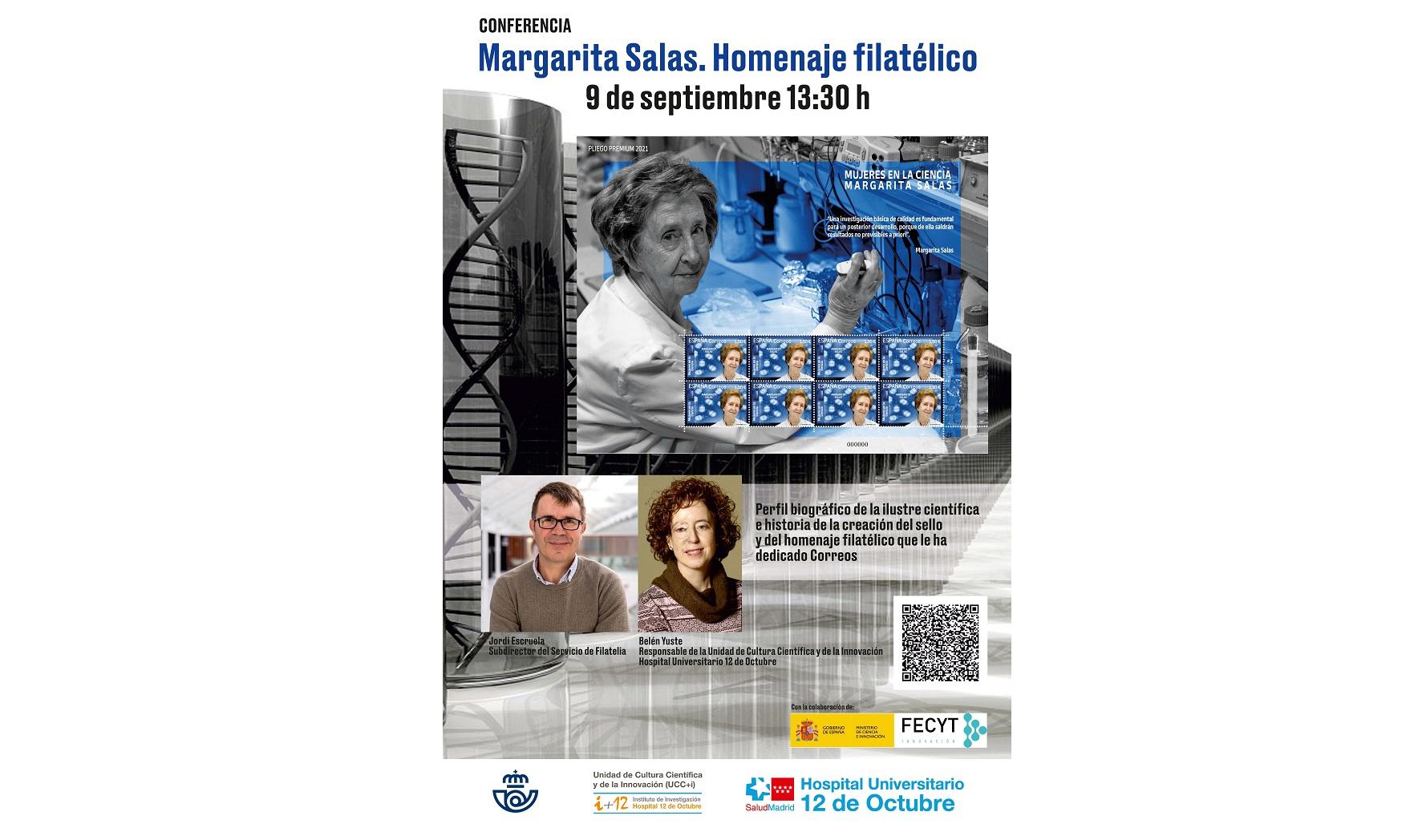 """Conferencia """"Margarita Salas. Homenaje Filatélico"""".  Jueves 9 de septiembre de 2021 a las 13:30 h. Evento OnLine en directo."""